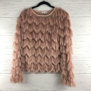Honey Belle Chevron Eyelash Fringe Long Sleeve Top